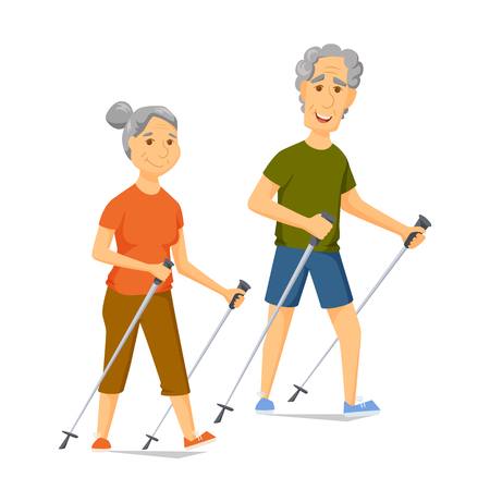 couple hiking: Seniors nordic walking. Pensioners walk together. Old man and women leisure. Cartoon older character sport vector illustration. Elderly people hiking and have a fun. Couple fitness. Healthy lifestyle