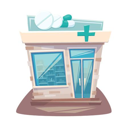 Pharmacy store front. Street local drugstore building. Medicine retail shop facade. Pharmacy front cartoon vector illustration. Vettoriali