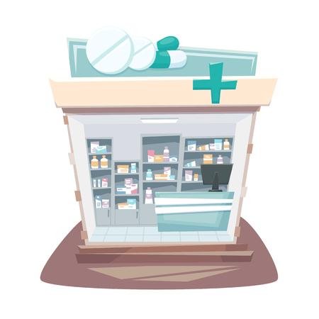 Pharmacy store interior. Street local drugstore building. Medicine retail shop inside shelves and showcases. Pharmacy interior cartoon vector illustration.