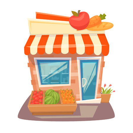 Grocery store front. Street local retail shop building. Organic fruit and vegetable kiosk facade. Grocery store front cartoon vector illustration. Grocery store exterior.