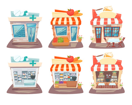 showcase interior: Store front and interior set. Street local retail shops building. Grocery store, pharmacy and cafe facade, inside shelves and showcase. Store front and interior cartoon vector illustration. Illustration