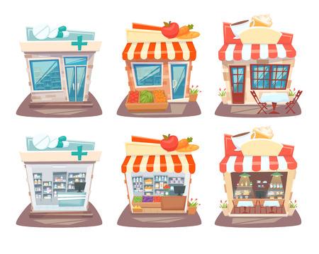 Store front en interieur set. Straat lokale winkels gebouw. Supermarkt, apotheek en cafe gevel, binnen planken en showcase. Store Front en interieur cartoon vector illustratie.