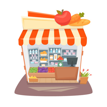 shop local: Grocery store interior. Street local retail shop building. Organic food, fruit and vegetable kiosk inside shelves and showcases. Grocery store interior cartoon vector illustration. Illustration