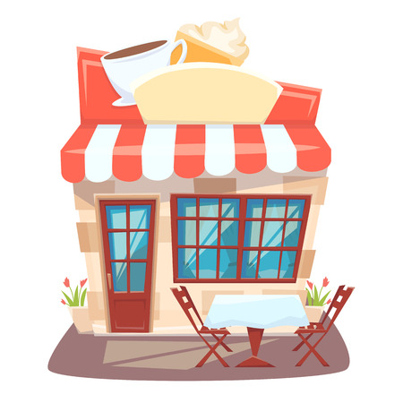 cafeteria: Cafe shop front. Street local cafeteria building. European bar facade. Cafe front cartoon vector illustration. Cafe exterior with outside table and chair