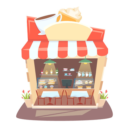 cafe shop: Cafe shop interior. Street local cafeteria building. European bar inside table, chair and showcases.Cafe interior cartoon vector illustration.