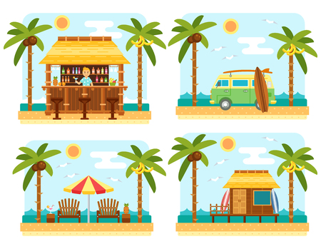 bar scene: Beach scene with bar, surf van, umbrella, chair and bungalow hotel. Flat summer beach, palm tree and sea waves vector landscape. Tropical paradise on beach. Summer travel scene set.