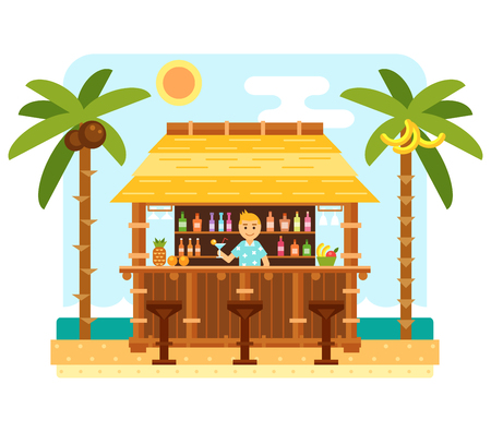 fruit bars: Beach bar and barmen. Flat beach scene with tiki bar, chairs, sea, send and palm tree. Tropical hut with coctails. Summer beach and ocean waves landscape. Tropical vector paradise