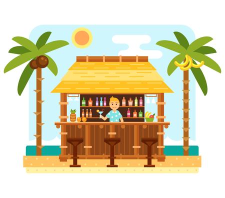 Beach bar e barman. scena della spiaggia piana con tiki bar, sedie, mare, inviare e palma. Capanna tropicale con cocktail. Summer beach e le onde dell'oceano paesaggio. Tropicale vettore paradiso Vettoriali