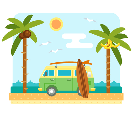 Surf van on beach. Flat beach scene with camper van, sea, send, surfboard and palm tree. Surfers car with board. Summer beach and ocean waves landscape. Surf van and boards on coast. Tropical paradise Illustration