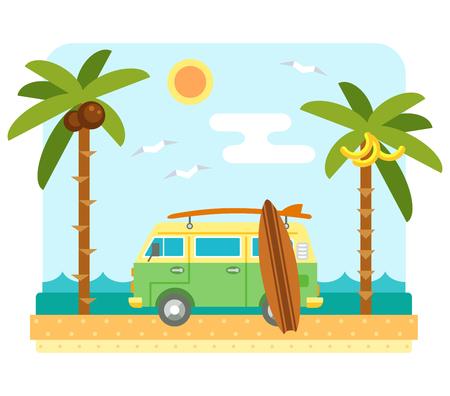 Surf van am Strand. Flache Strandszene mit Wohnmobil, das Meer, zu senden, Surfbrett und Palme. Surfers Auto mit Bord. Sommer-Strand und Meereswellen Landschaft. Surf van und Bretter an der Küste. Tropisches Paradies