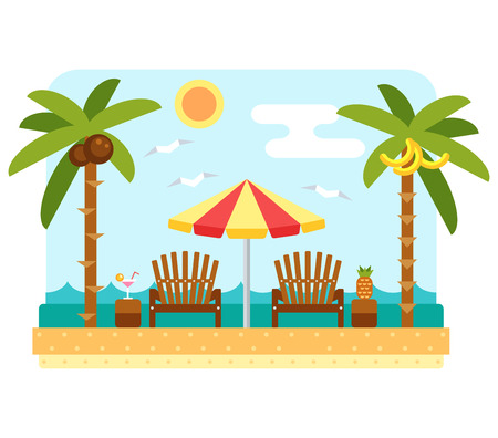 recliner: Beach umbrella and chair. Flat beach scene with parasol, chair, sea and palm tree. Two dackchairs and umbrella. Summer beach and ocean waves landscape. Tropical paradise with longue and umbrella