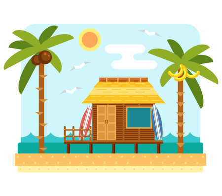 beach hut: Beach bungalow hotel. Flat beach scene with hut, sea, send, surfboard and palm tree. Surfers bungalow with two board. Summer beach and ocean waves landscape. Bungalow hotel on coast. Tropical paradise Illustration