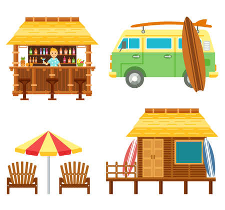 Beach scene elements with bar, surf van, umbrella, chair and bungalow hotel isolated on white. Flat summer vector set. Summer beach travel set.