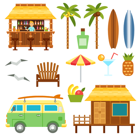 Beach scene elements with bar, surf van, umbrella, chair and bungalow hotel isolated on white. Flat summer palm tree surfboard, coctail, pineapple vector set. Summer beach travel set. Vettoriali