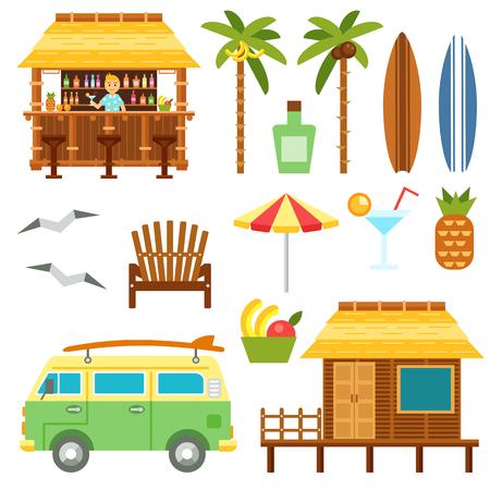 Scène van het strand elementen met bar, surf bestelwagen, paraplu, stoel en bungalow hotel op wit wordt geïsoleerd. Flat zomer palmboom surfplank, cocktail, ananas vector set. Zomer reizen strand te stellen.