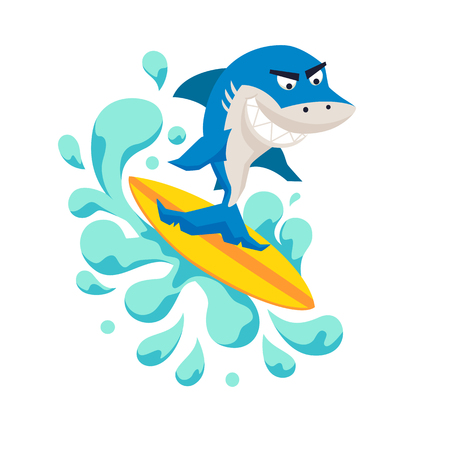 Surfer cool shark on wave. Sirfing monsters. Fun surf print with cute shark vector illustration. Comic sea character on surfboard. Water sports kid poster. Ride shark athlete Vettoriali