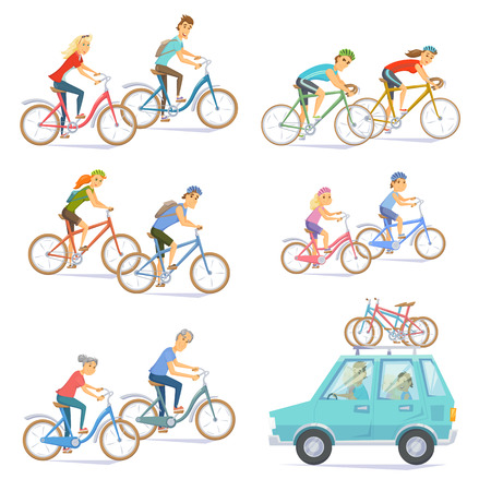 Cyclists on bikes set. People riding bicycle. Urban and racing, kids, road bike. Car with bicycles on top rack. Cyclists man and woman, seniors couple, children. Bicyclist cartoon cheracter vector Vettoriali