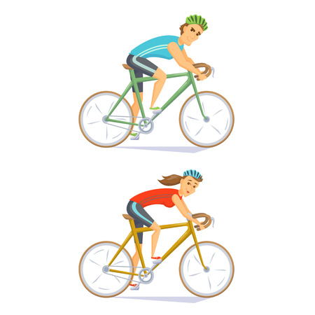 cycle race: Cyclists on road bikes set. People riding bicycle. Cyclists man and woman. Couple on cycling competition. Cyclist cartoon character vector illustration. Cycle race. Athlete cycling on competition