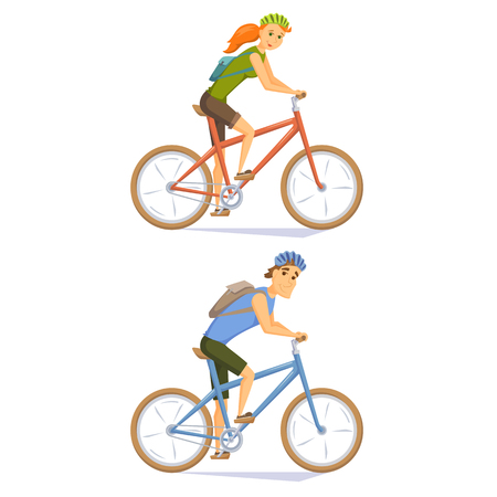 Cyclist on mountain bike set. People riding bicycle. Cyclists man and woman. Couple cycling journey. Cyclist cartoon character vector illustration. Cycle weekend getaway trip. Holiday outdoor leisure Vettoriali