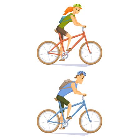 Fietser op de mountainbike set. Mensen rijden fiets. Fietsers man en vrouw. Echtpaar fietsreis. Fietser stripfiguur vector illustratie. Cyclus weekendje weg reis. Holiday vrijetijdsbesteding buitenshuis Vector Illustratie