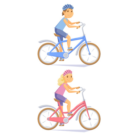 cycling helmet: Cyclist children on kid bike. Sute kids riding bicycle. Cyclist girl an boy. Child cycling journey. Cyclist cartoon character vector illustration. Cycle cute girl and little boy.