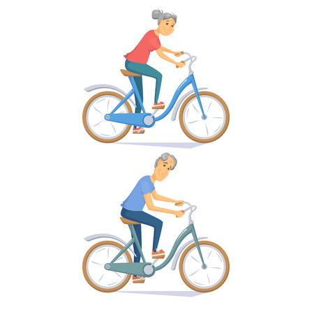 retired: Cyclist senior on urban bike. Old people riding bicycle. Cyclist older couple. Senior man and women cycling togeder. Cyclist cartoon character vector illustration. Healthy lifestylr with cycle