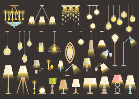 turn table: Lamp set isolated on black background. Interior light design vector illustration. Electricity floor, table, wall lamps. Lamps light interior decoration modern and classic style. Turn on Illustration