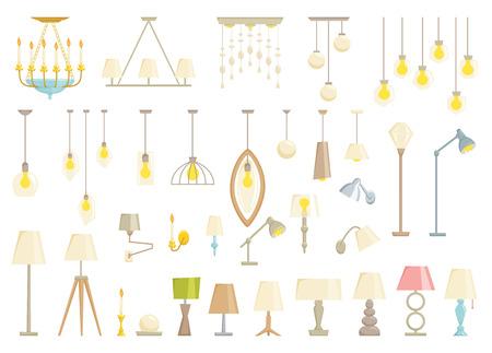 Lampe Set auf schwarzem Hintergrund. Innenbeleuchtung Design Vektor-Illustration. Elektrizität Boden, Tisch, Wandleuchten. Lampen Licht Innendekoration modernen und klassischen Stil. Abschalten