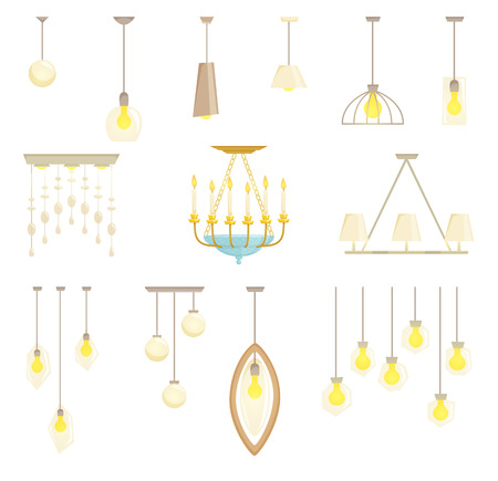 ceiling design: Ceiling lamp set isolated on white background. Interior chandelier light design vector illustration. Ceiling lamp light interior decoration modern and classic style. Turn on ceiling lamp