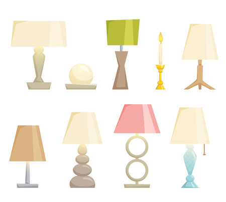 turn table: Lampshades on the table set isolated on white background. Interior light design vector illustration. Table lamps. Shade lamps light interior decoration modern and classic style. Turn on lampshades