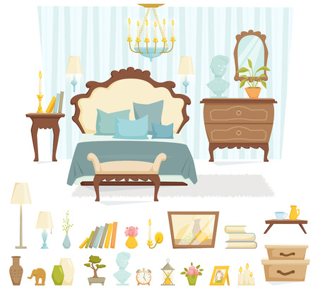 chest of drawers: Bedroom interior with furniture and decoration in classic style. Bedroom interior cartoon vector illustration. Bedroom furniture and decor: bed, bedside table, shade lamp, chest of drawers. Illustration