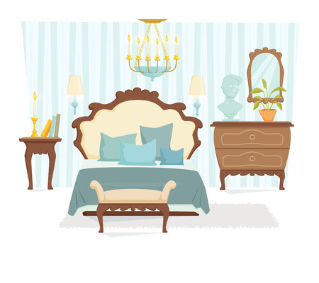 lamp shade: Bedroom interior with furniture and decoration in classic style. Bedroom interior cartoon vector illustration. Bedroom furniture and decor: bed, bedside table, lamp, pillow, shade. Elegant interior