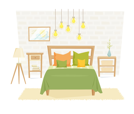 bedroom furniture: Bedroom interior with furniture and decoration in loft style. Bedroom interior cartoon vector illustration. Bedroom furniture and decor: bed, bedside table, lamp, pillow, shade. Modern interior