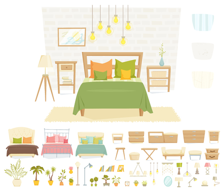 bedroom interior: Bedroom interior with furniture and decoration set. Bedroom interior cartoon vector illustration. Bedroom furniture and decor: bed, bedside table, lamp, pillow, shade, plant, wall. Modern interior Illustration