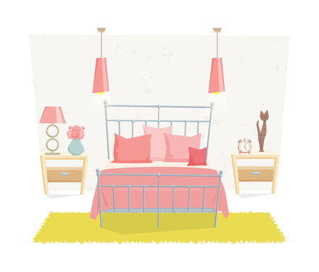 Bedroom interior with furniture and decoration in teen style. Bedroom interior cartoon vector illustration. Bedroom furniture and decor: bed, bedside table, lamp, pillow, shade. Cute girl interior Illustration