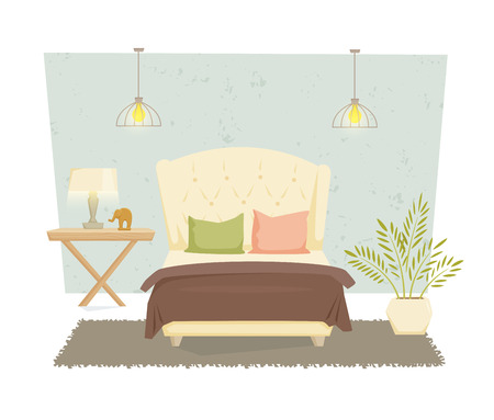 lamp shade: Bedroom interior with furniture and decoration in modern style. Bedroom interior cartoon vector illustration. Bedroom furniture and decor: bed, bedside table, lamp, pillow, shade. Luxury interior