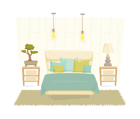 bedroom furniture: Bedroom interior with furniture and decoration in eco style. Bedroom interior cartoon vector illustration. Bedroom furniture and decor: bed, bedside table, lamp, pillow, shade. Japanese interior