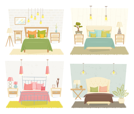 modernism: Bedroom interior with furniture and decoration set. Bedroom interior cartoon vector illustration. Bedroom furniture different style: eco, loft, modernism, japanese. Modern interior