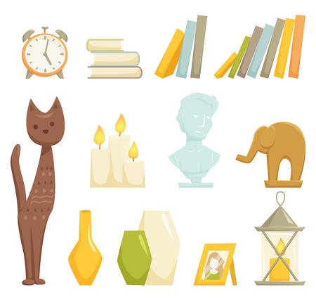 Insieme di elementi di decorazione di interni. arredamento d'interni isolato su wihte. Cartoon statuetta gatto e elefante, libri, busto di marmo, lampada della candela, vaso, cornice per foto, icona di allarme closk. elementi di arredo di interni.
