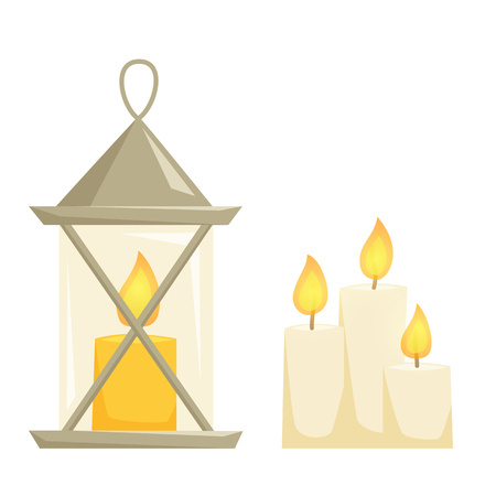 candlelight: Candele and candle latern set. Candlelight isolated on wihte background. Cartoon candelestick icon. Interior decor elements. Cristmas decoration for shelves, table, cabinet.