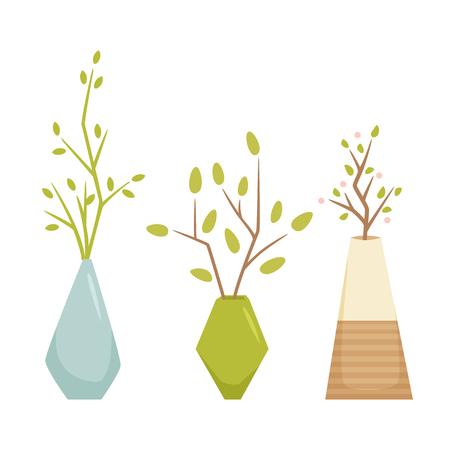 Fleur dans un vase. Intérieur maison et le bureau vase plante. Houseplant vecteur de bande dessinée illustration. Intérieur pot décoration. la croissance et le jardinage Flowerpot.