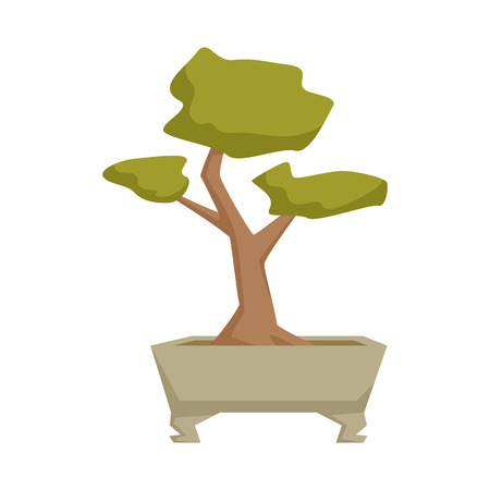 home gardening: Bonsai in pot. Interior home and office potted plant. Japanese houseplant cartoon vector illistration. Japa interior decoration. Flowerpot drowth and gardening. Illustration