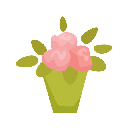 cyclamen: Violet, Cyclamen, Begonia in pot. Interior home and office potted plant. Houseplant cartoon vector illistration. Interior decoration. Flowerpot drowth and gardening.