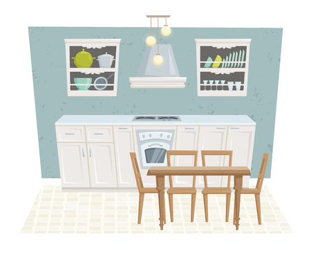 kitchen cabinet: Kitchen interior with furniture and decoration in modern style. Kitchen interior cartoon vector illustration. Kitchen furniture: table, container, cabinet, stove, chairs, shelf. Classical interior Illustration