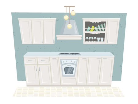 kitchen cabinet: Kitchen interior with furniture and decoration in classic style. Kitchen interior cartoon vector illustration. Kitchen furniture: container, cabinet, cupboard, stove, shelf. Classical interior