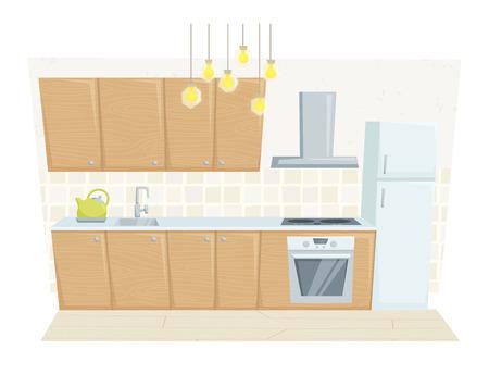 refrigerated: Kitchen interior with furniture and decoration in modern style. Kitchen interior cartoon vector illustration. Kitchen furniture: container, refrigerated, cabinet, cooler, stove. Modern interior
