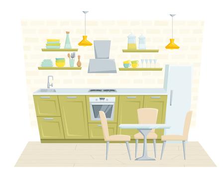 Interior De La Cocina Con Muebles Y La Decoración En Estilo Clásico ...