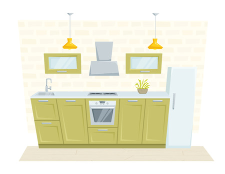 refrigerated: Kitchen interior with furniture and decoration loft style. Kitchen interior cartoon vector illustration. Kitchen furniture: container, cabinet, cooler, stove, refrigerated, cupboard. Modern interior Illustration