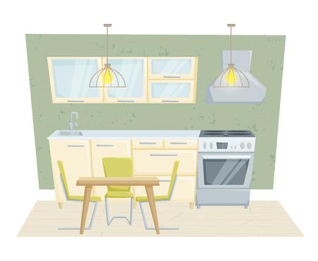 kitchen cabinet: Kitchen interior with furniture and decoration in modern style. Kitchen interior cartoon vector illustration. Kitchen furniture: table, container, cabinet, stove, chairs. Modern interior