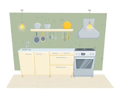 modern kitchen: Kitchen interior with furniture and decoration in modern style. Kitchen interior cartoon vector illustration. Kitchen furniture: container, stove, cabinet, shelf. Modern interior Illustration